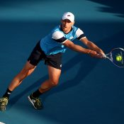 John Millman in action at the ATP event in Auckland. (Getty Images)