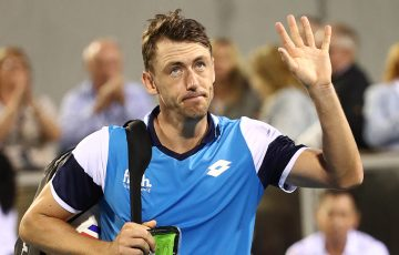 John Millman acknowledges the crowd after falling to Benoit Paire in the ATP Auckland quarterfinals. (Getty Images)