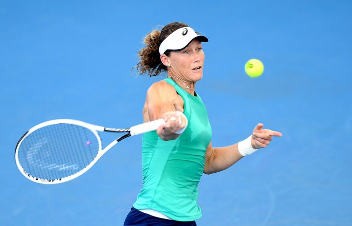Sam Stosur in action during her second-round loss to Madison Keys at the Brisbane International. (Getty Images)