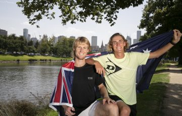 LOCAL HOPES: Luke Saville and Max Purcell are proud to fly the Aussie flag in the Australian Open men's doubles final. Picture: Getty Images
