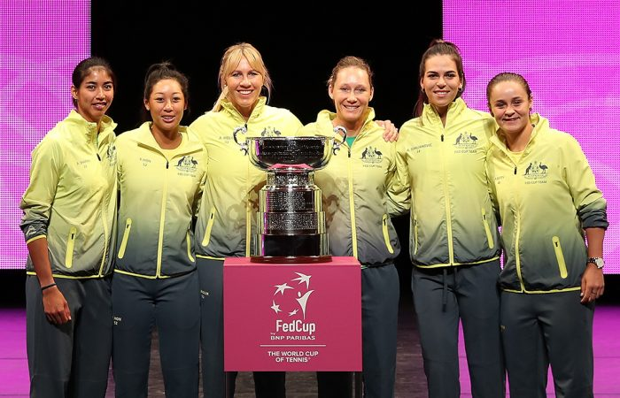 The Australian Fed Cup team ahead of the 2019 final in Perth. (Getty Images)