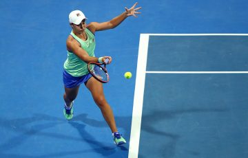 Ash Barty in action during her quarterfinal win over Garbine Muguruza in Doha. (Getty Images)
