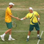 Chris Guccione and Lleyton Hewitt compete in a Davis Cup tie at the Geelong Lawn Tennis Club in 2012 Getty Images