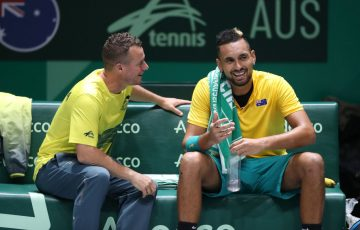 Llleyton Hewitt and Nick Kyrgios at the 2019 Davis Cup final in Madrid; Getty Images