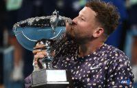 SIX IS SWEET: Australia's Dylan Alcott kisses his Australian Open trophy. Picture: Getty Images