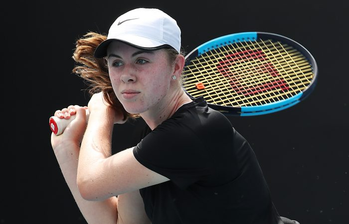 MELBOURNE, AUSTRALIA - JANUARY 27: Talia Gibson of Australia plays a backhand during her Junior Girls' Singles second round match against Ane Mintegi Del Olmo of Spain on day eight of the 2020 Australian Open at Melbourne Park on January 27, 2020 in Melbourne, Australia. (Photo by Jonathan DiMaggio/Getty Images)
