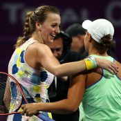 Petra Kvitova and Ash Barty in Doha; Getty Images