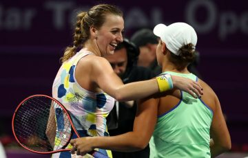 Petra Kvitova and Ash Barty in Doha; Getty Images