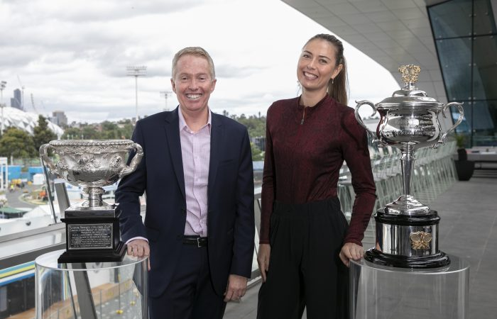 LEADER: Tennis Australia Chief Executive Officer Craig Tiley with former world No.1 Maria Sharapova. Picture: Getty Images