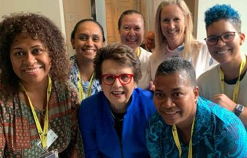 Billie Jean King celebrates with Oceania Tennis Federation members ahead of International Women's Day.