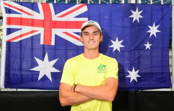 AUSSIE PRIDE: Tristan Schoolkate enjoyed his orange ball experience at last week's Davis Cup tie in Adelaide. Picture: Getty Images