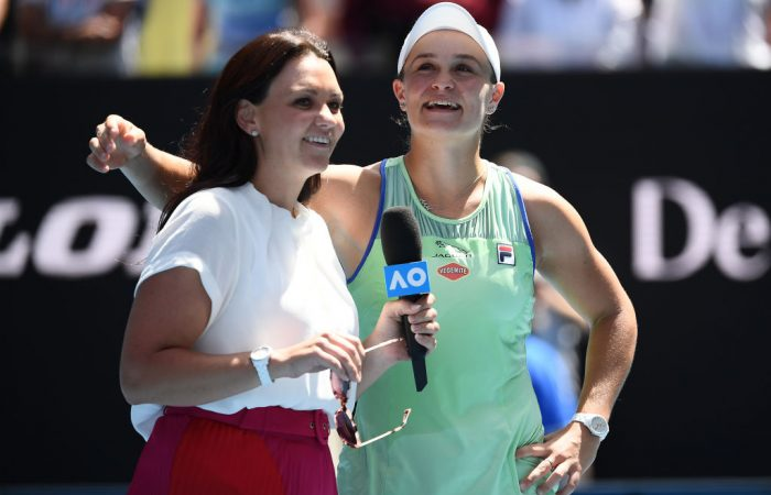 Casey Dellacqua interviews world No.1 Ash Barty at Australian Open 2020; Getty Images