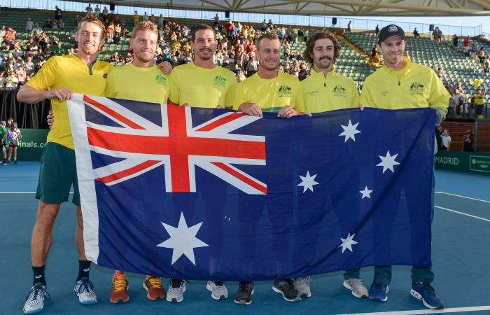 UNITED: John Millman, James Duckworth, Alex Bolt, Lleyton Hewitt, Jordan Thompson and John Peers celebrate their Davis Cup victory against Brazil. Picture: Getty Images