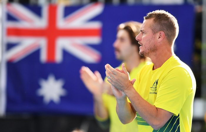 ADELAIDE, AUSTRALIA - MARCH 06: Lleyton Hewitt captain of Australia during the Davis Cup Qualifier Tie singles match between John Millman of Australia and Thiago Seyboth Wild of Brazil   at Memorial Drive on March 06, 2020 in Adelaide, Australia. (Photo by Mark Brake/Getty Images)