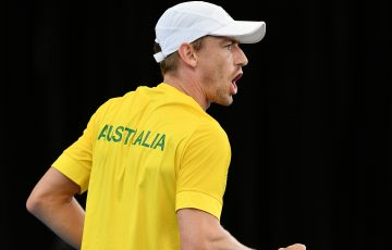 FIRED UP: John Millman celebrates his hard-fought Davis Cup victory against Brazil's Thiago Monteiro. Picture: Getty Images