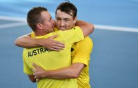 TEAM SPIRIT: Captain Lleyton Hewitt and John Millman celebrate Australia's qualifying win against Brazil in Adelaide earlier this month. Picture: Getty Images