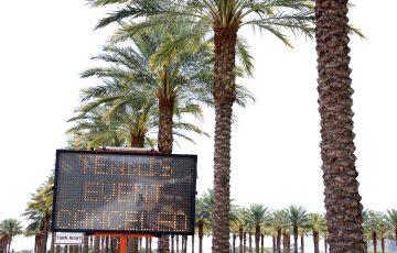 CANCELLED: A sign at Indian Wells, where Australia's top-ranked players were meant to be competing this week. Picture: Getty Images