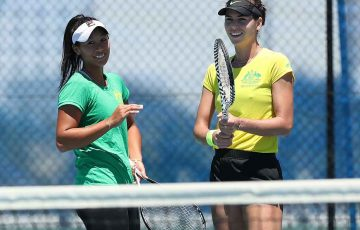 Priscilla Hon and Ajla Tomljanovic practice ahead of the 2019 Fed Cup final in Perth; Getty Images