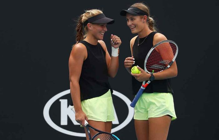 Maddison Inglis and Kaylah McPhee at AO2020; Getty Images
