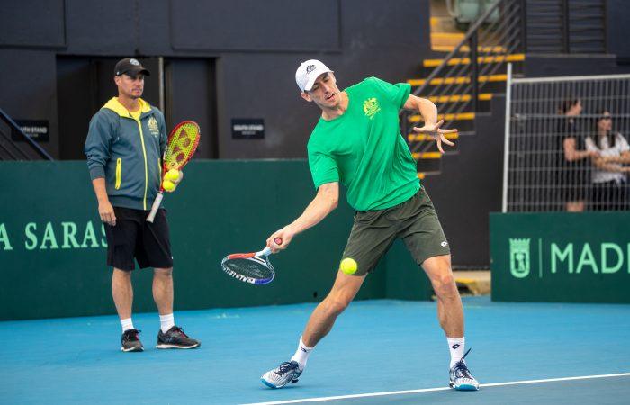 PREPARATIONS: Australian Davis Cup captain Lleyton Hewitt keeps a watchful eye on John Millman in Adelaide.