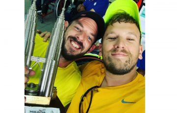 WINNERS: Heath Davidson and Dylan Alcott celebrate their World Team Cup Asia and Oceania qualification victory.
