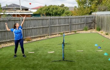 Ashleigh Richardson from Vida Tennis Essendon is now sharing lessons online via her own backyard.