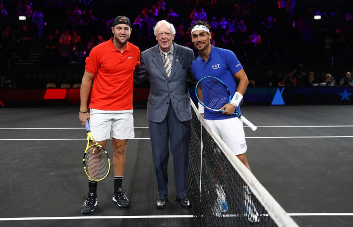 HONOURED: Australian tennis legend Fred Stolle, middle, with Jack Sock and Fabio Fognini at the 2019 Laver Cup. Picture: Getty Images