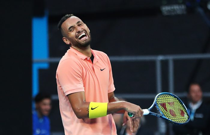 FUN AND GAMES: Nick Kyrgios was pranked on his birthday by Greek world No.6 Stefanos Tsitsipas. Picture: Getty Images