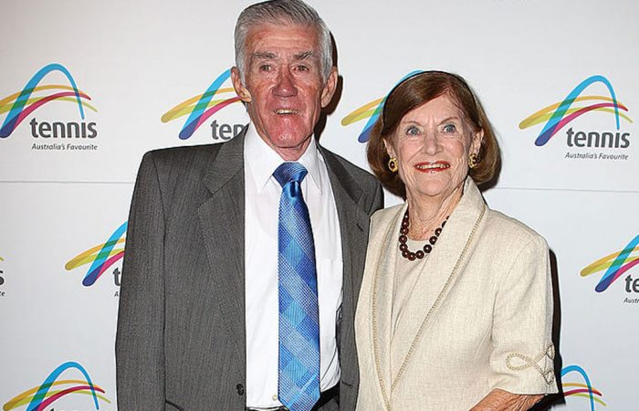 Ken and Wilma Rosewall at Australian Open 2013. Picture: Getty Images