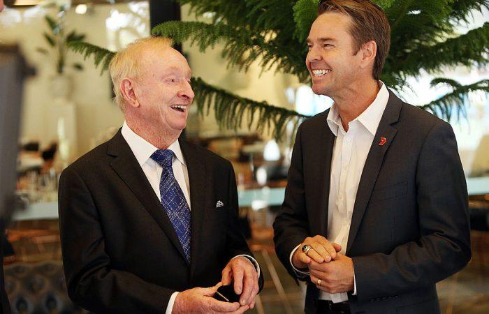 LEGENDS: Australian tennis great Rod Laver with Todd Woodbridge.