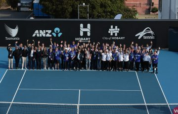 A TEAM EFFORT: Hobart International staff and volunteers in January 2020. Picture: Getty Images