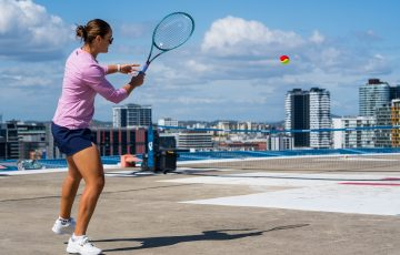 ON TOP: World No.1 Ash Barty hit on a Brisbane hospital helipad this week.