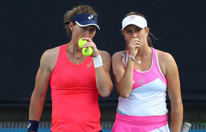 Doubles partners Sam Stosur and Ellen Perez at Australian Open 2020. Picture: Getty Images