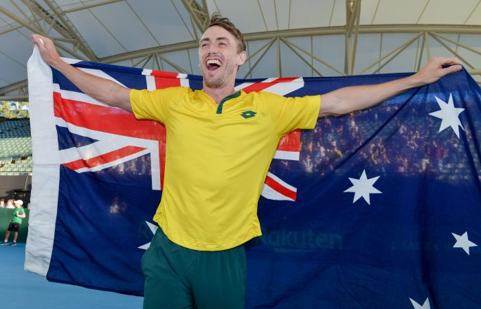 Australia's John Millman at the Davis Cup in Adelaide in March. Picture: Getty Images
