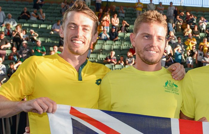 MATES: John Millman and James Duckworth celebrate Australia's Davis Cup qualifying tie win in Adelaide in March. Picture: Getty Images