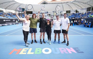 PROUD: A Glam Slam celebration at Australian Open 2020 saw Casey Dellacqua, middle, return to court in a celebrity match. Picture: Tennis Australia