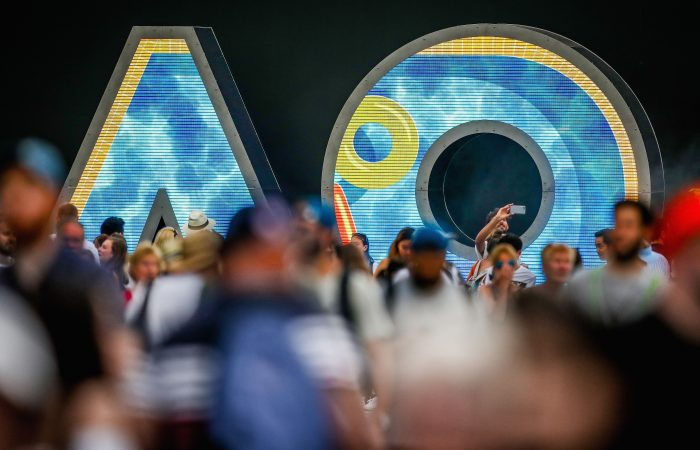 MELBOURNE, AUSTRALIA - JANUARY 17:  AO Sign and Lights during day four of the 2019 Australian Open at Melbourne Park on January 17, 2019 in Melbourne, Australia.  (Photo by Matt King/Getty Images For Tennis Australia)
