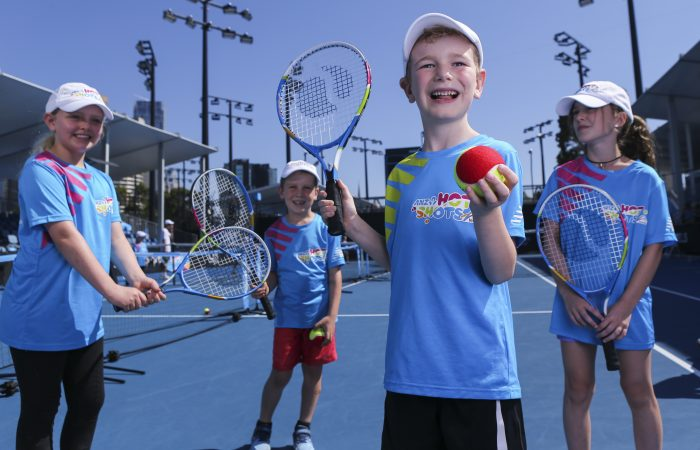 MELBOURNE, AUSTRALIA - JANUARY 22:  ANZ Hot Shots kids on court 7 during day nine of the 2019 Australian Open at Melbourne Park on January 16, 2019 in Melbourne, Australia.  (Photo by Tracey Nearmy/Getty Images For Tennis Australia)