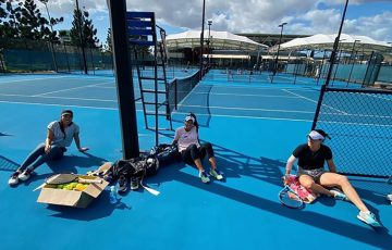 SOCIAL DISTANCING: Lizette Cabrera, Priscilla Hon and Kimberly Birrell at the Queensland Tennis Centre. Picture: Instagram
