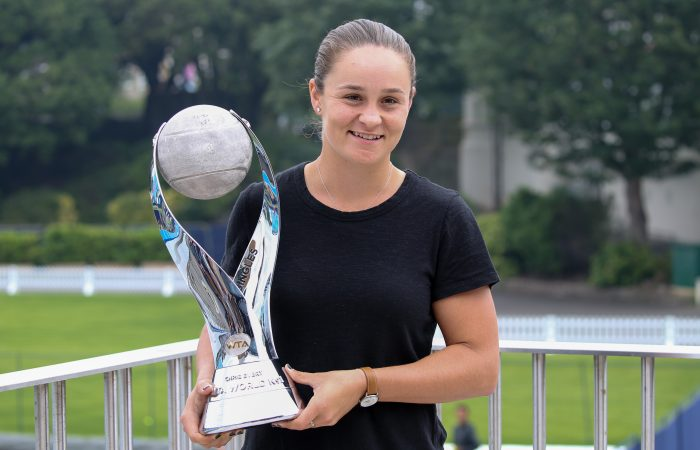 ON TOP: Ash Barty with her world No.1 trophy in Eastbourne last year. Picture: Getty Images