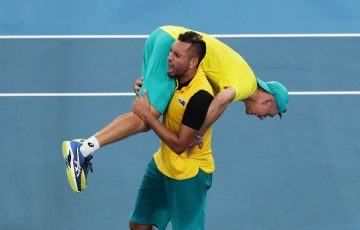CLOSE BOND: Nick Kyrgios with Alex de Minaur on his shoulders during the ATP Cup in January. Picture: Getty Images