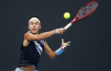 IMPROVING: Rinky Hijikata in action during Australian Open 2020 qualifying. Picture: Getty Images