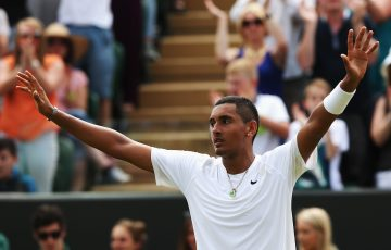 MEMORABLE VICTORY: Nick Kyrgios celebrates his epic win over Richard Gasquet at Wimbledon in 2014. Picture: Getty Images