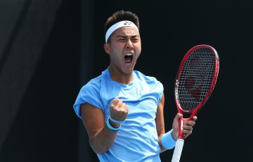 ONE TO WATCH: Rinky Hijikata celebrates a career-best win in Australian Open 2020 qualifying. Picture: Getty Images