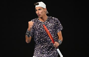 ON THE RISE: Alexei Popyrin in action at Australian Open 2020. Picture: Getty Images