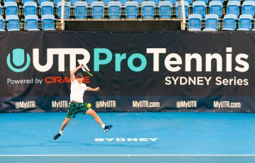 BACK ON COURT: World No.116 Christopher O'Connell in action during the UTR Pro Tennis Series in Sydney.