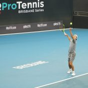 Jason Kubler in action at the UTR Pro Tennis Series event final in Brisbane.