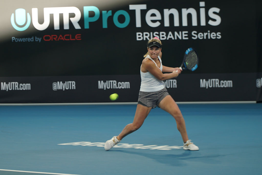 Maddison Inglis in action at the UTR Pro Tennis Series event final in Brisbane.