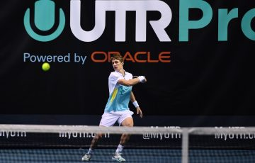 IMPROVED: Marc Polmans in action during the UTR Pro Tennis Series. Picture: Tennis Australia