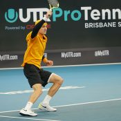 Adam Walton in action at the UTR Pro Tennis Series event final in Brisbane.